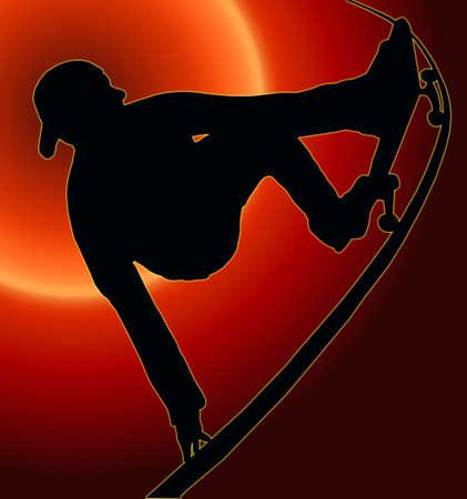 Sunset Back Skateboarding Skater do Grab Turn on Vert Ramp