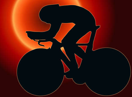 Sunset Back Sport Silhouette - Bicycle Race isolated black image on white background Stock Photo - 11622176