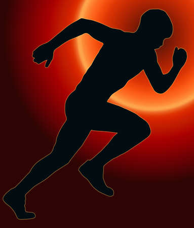 Sunset Back Sport Silhouette Male Sprint Athlete Stock Photo - 11622190