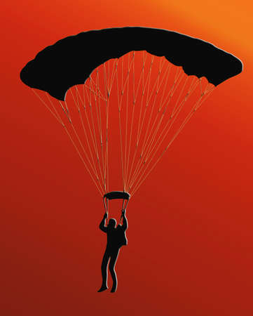 Sunset Back Silhouette of sky diver with open parachute photo