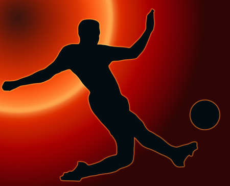 Sunset Back Sport Silhouette Soccer player kicking ball photo