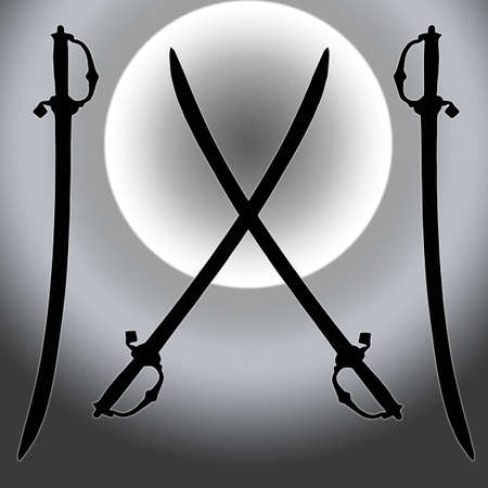 Coat of Arms Silver Sun Sword Silhouette Image Stock Photo - 11622416