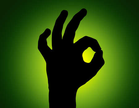 non verbal: SilhouetteAll Fine Hand on Green Colored Background