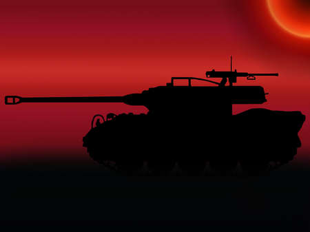 armaments: WW2 Sunset Silhouette American M18 Hellcat Tank Destroyer Stock Photo