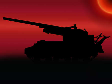 propelled: WW2 Sunset  American M40 155mm self propelled gun