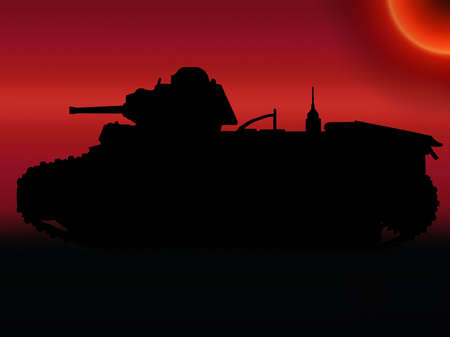 WW2 Sunset Silhouette French Char B1-bis Tank photo