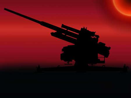 flak: WW2 Sunset  10.5-cm Flak 38 anti aircraft gun Stock Photo
