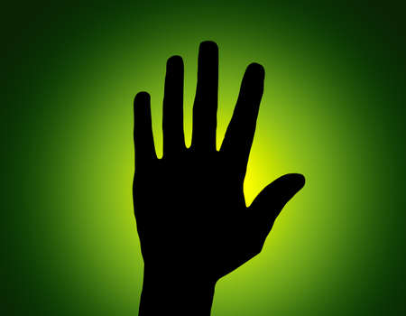 Silhouette Stop Hand on Green Colored Background Stock Photo - 11792471