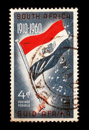 apartheid in south africa: SOUTH AFRICA POSTAGE STAMP: Old National Flag Orange White Blue 1910-1960 (Independence)
