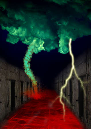 Red Hot Road of Bondage with Jail Cells Tornado and Lightning Stock Photo - 12161443