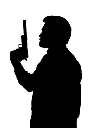 hitman: Silhouette of Hitman with Pistol with Silencer Illustration