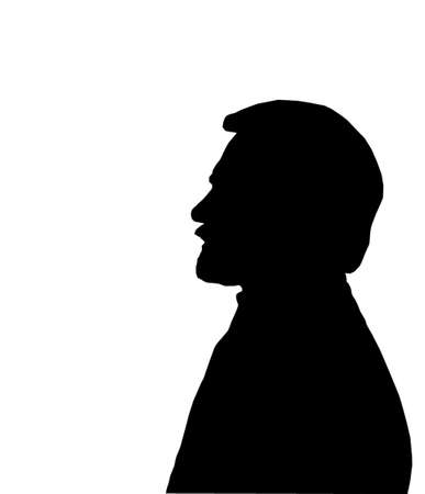 Silhuette Side profile of bearded mans face Vector
