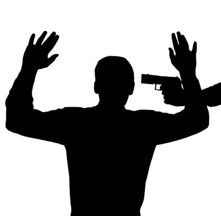 threaten: Man surrendering with gun against his head
