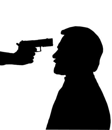 gangster with gun: Silueta del hombre con la pistola apuntando a su cabeza