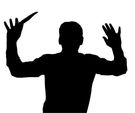 surrendering: Man surrendering while holding knife in one hand Illustration