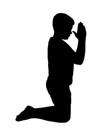 Kneeling Boy Praying with Hands in fron of Face Vector