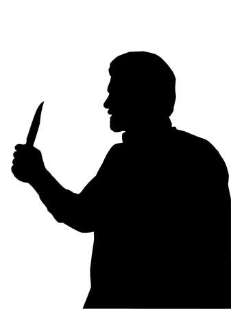 kill: Silhouette of Man holding Knife in one Hand
