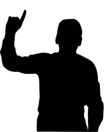man pointing up: Preacher or Man pointing with finfer upwards