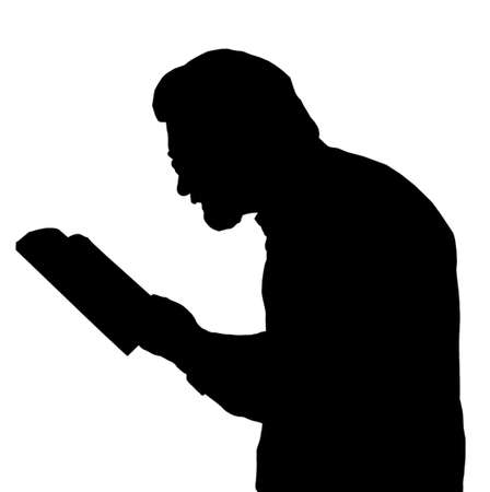 Nearsighted man with glasses reading book close to eyes Vector