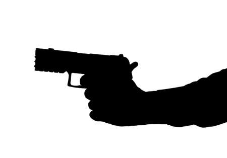 Silhouette of arm and Hand holding a Pistol  Vector
