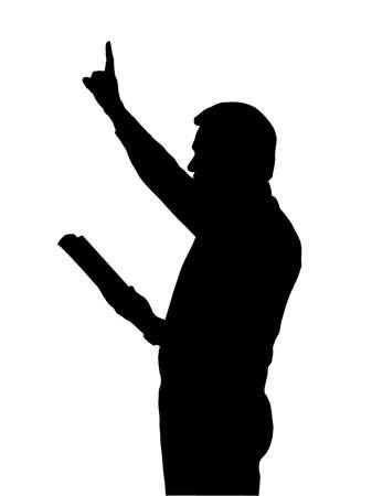 predicador: Predicador de la lectura de la Biblia con el brazo levantado