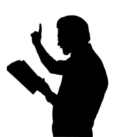 Preacher Reading from Bible with Raised Finger Imagens - 12480096