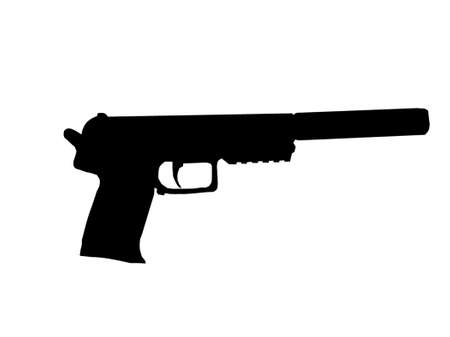 assassin: Silhouette of Pistol with Silencer Fitted on Barrel