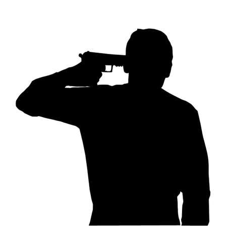 holding gun to head: Silhouette of man holding gun against own head Illustration