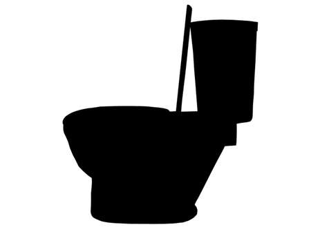 toilet seat: Silhouette of side view of a modern toilet