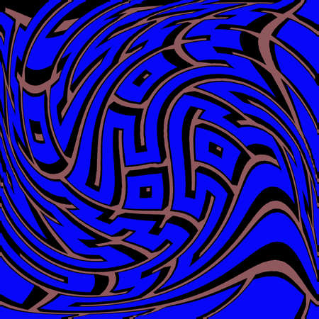 unsolvable: Warped 3D Maze in Blue and Brown Colors