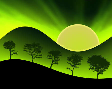 Neon Colored Sun Green Mountains and Silhouetted Trees photo