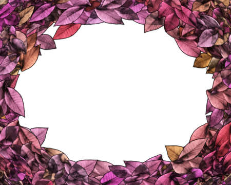 circlet: Isolated Framed Autumn Leaves Circlet with Text Space