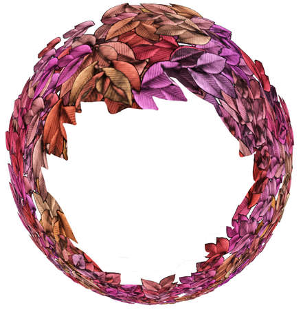 circlet: Ring Shaped Isolated Autumn Leaves Circlet with Text Space