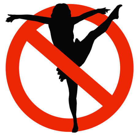 ballet bar: No Dancing Allowed on Traffic Prohibition Sign Stock Photo