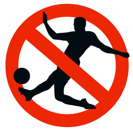 No Soccer Allowed on Traffic Prohibition Sign photo
