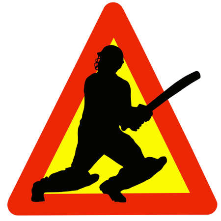 Warning Cricket Played Here on Traffic Sign Stock Photo - 12806274