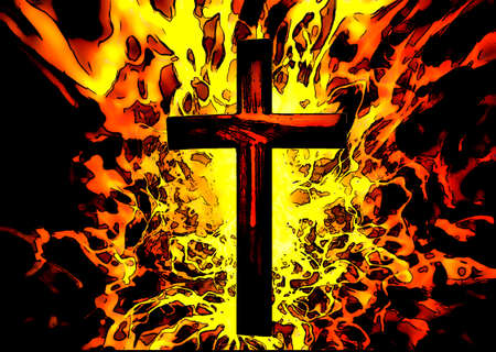 Christian Cross with Flames in Background Illustration Background illustration