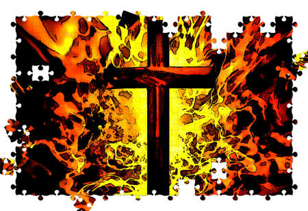 Christian Cross with Flames in Background Illustration Puzzle illustration