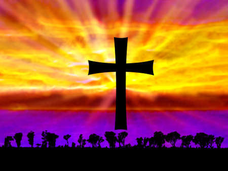 Abstract Cristian Cross over Sea with Nature Silhouette photo