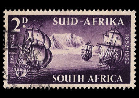 SOUTH AFRICA - CIRCA 1952  A stamp Printed in South Africa shows the 3 ships the founder of western society in SA arrived in at Cape of Good Hope 1652, commemorate 300 anniversary 1652-1952, circa 1952  Stock Photo - 13178821