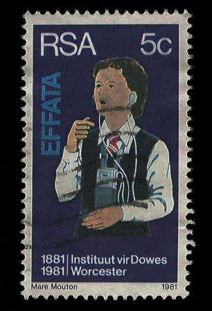 SOUTH AFRICA - CIRCA 1981  A stamp Printed in South Africa shows deaf child with hearing aid, dedicated to Institute for the death, circa 1981  photo