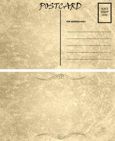 Calibre de carte postale de cru souillé avec le Front de la zone de copie et de Retour Banque d'images