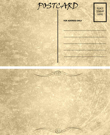Vintage Stained Postcard Template with Copy Area Front and Back Imagens - 13221018