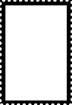 cutting edge: Blank Open Postage Edge Outline Portrait Template Black on White to Create Own Stamp Stock Photo