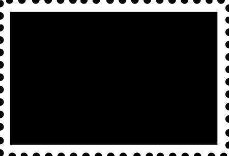 cutting edge: Blank Open Postage Edge Outline Landscape Template White on Black to Create Own Stamp