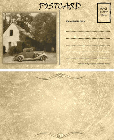 Vintage Motor Car Stained Postcard Template with Copy Area Front Back photo