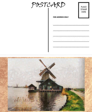 White Empty Postcard Template with Dutch Windmill Image photo
