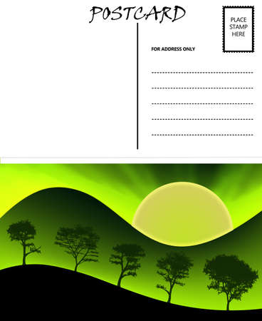 White Empty Postcard Template with Nature Sunset Sunrise Image photo
