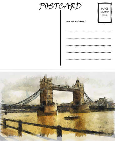 White Empty Postcard Template with London Bridge Image photo