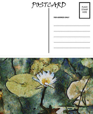 White Empty Postcard Template with Water Lilly Image photo